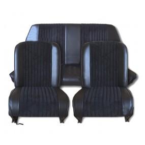 Coiffes de sièges avant et arrière pour Fiat 500 F-L-R cabriolet (tissu côtelé noir et simili noir)