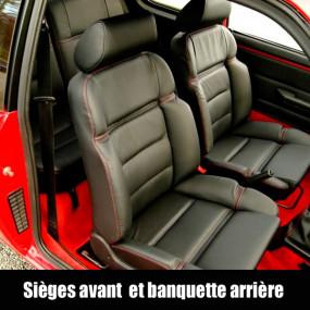 Garnitures siège avant et banquette arrière en cuir noir avec surpiqures rouges Peugeot 205 GTI
