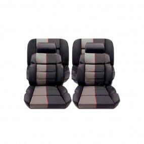 Garnitures siège avant et banquette arrière en cuir anthracite et tissu ramier 205 GTI