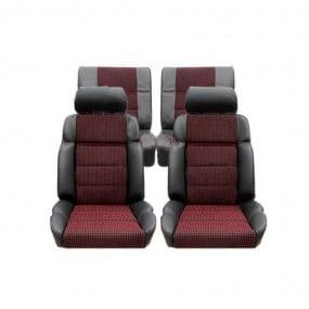 Garnitures siège avant et banquette arrière en cuir anthracite et tissu quartet 205 GTI