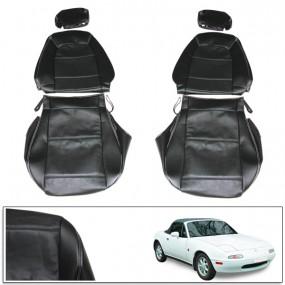 Housse de sièges sur mesure pour Mazda MX5 NA/NB en cuir noir coutures grises avec appui-tête