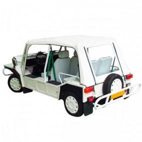 Capote Mini Moke Cagiva cabriolet en Vinyle blanc avec finitions vertes
