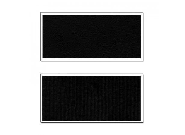 Garnitures siège avant et banquette arrière en tissu côtelé noir semis cuir noir pour Peugeot 304 coupé