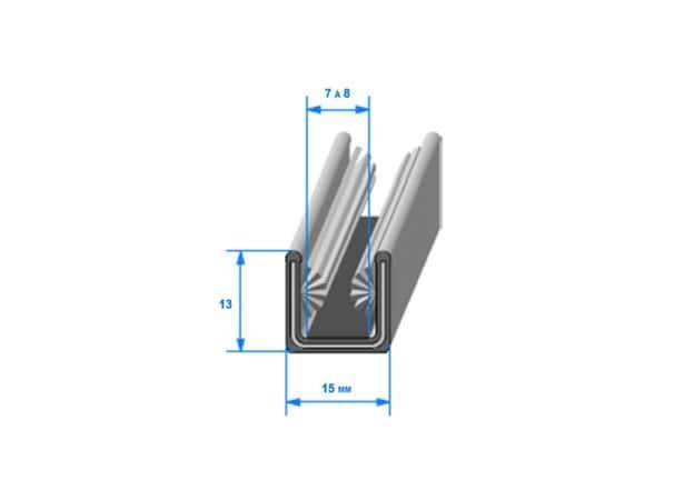 Coulisse de vitre feutrée/armée 15mm (26405L)