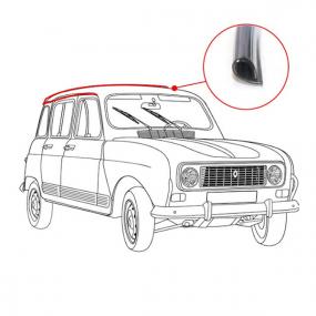 Jonc chromé pour gouttière de toit de Renault 4L berline