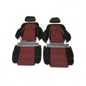 Garnitures siège avant en tissu côtelé noir et tissu quartet 205 CTI