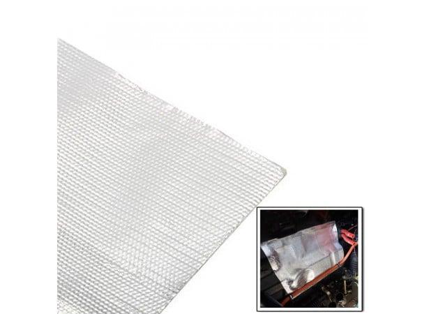Barrière thermique en tissu de verre aluminisé 1000°C autocollant, 1M² - THERMO RACING
