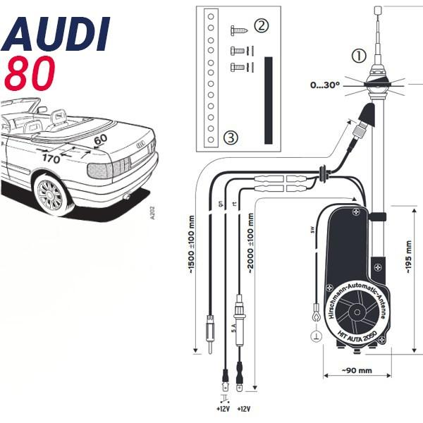 Audi 80 Cabriolet Automatique électrique Antenne Auto Chrome De Toit 12v Neuf