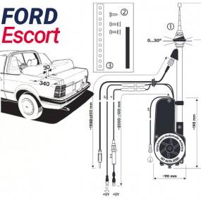 Antenne motorisée électrique Ford Escort 1 Barchetta - HIRSCHMANN HIT 2050