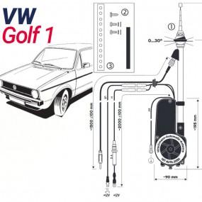 Antenne motorisée électrique VW Golf 1 - HIRSCHMANN HIT 2050
