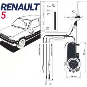 Antenne motorisée électrique Renault 5 - HIRSCHMANN HIT 2050