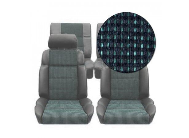Garnitures siège avant et arrière en cuir noir et tissu quartet vert 205 GTI