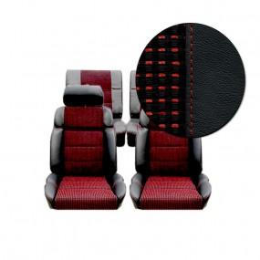 Garnitures siège avant et arrière en cuir noir et tissu quartet 205 GTI