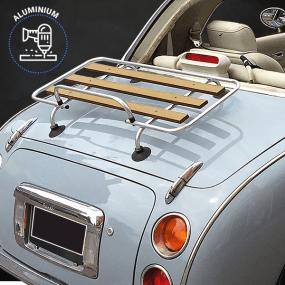 Porte-bagages bois Véronique 3 barres Aluminium Nissan Figaro - Kit percement + ventouses