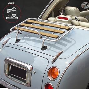 Porte-bagages bois Véronique 3 barres inox Nissan Figaro - kit percement + ventouses