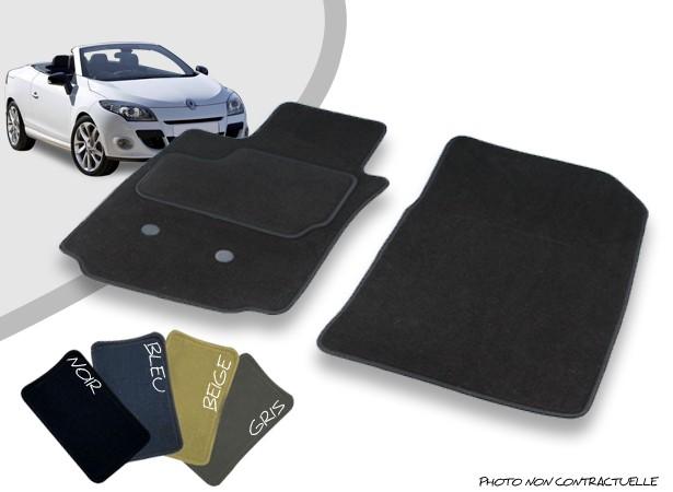 Tapis auto avant sur-mesure pour Renault Megane 3 CC moquette aiguilletée surjetée