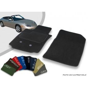 Tapis auto avant sur-mesure Porsche 996 cabriolet (1999-2001) velours bordé