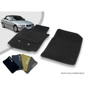 Tapis auto avant sur-mesure BMW E36 cabriolet moquette aiguilletée surjetée