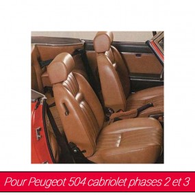 Garnitures de sièges avants Peugeot 504 cabriolet phase 2 et 3 - Made in France