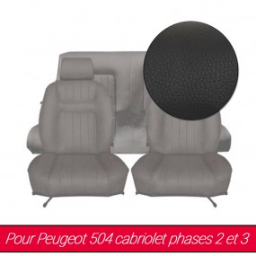 Garnitures de sièges avant et arrière en Cuir noir pour Peugeot 504 cabriolet
