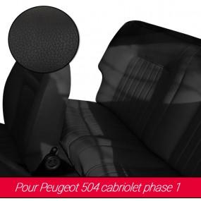 Garnitures de sièges avant et arrière en Cuir noir pour Peugeot 504 cabriolet phase 1