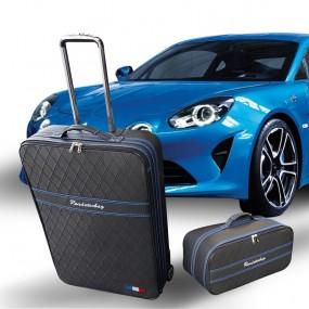 Bagagerie sur-mesure Alpine A110 (coffres Avant + Arrière) - coutures bleues