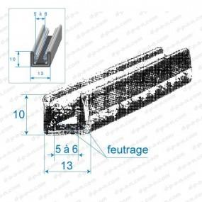 Coulisse de vitre feutrée 13mm
