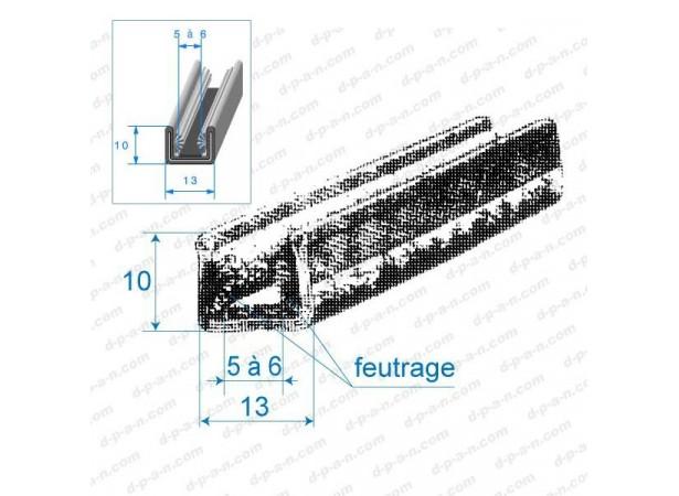 Coulisse de vitre feutrée 13mm (26406)