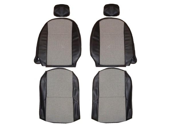 """Garnitures de sièges avant simili cuir noir et tissu pied de poule pour """"Triumph Spitfire MK4 et 1500"""" avec appui tête"""