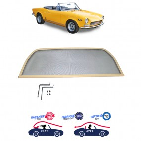 Filet coupe-vent beige, Windschott Fiat 124 cabriolet