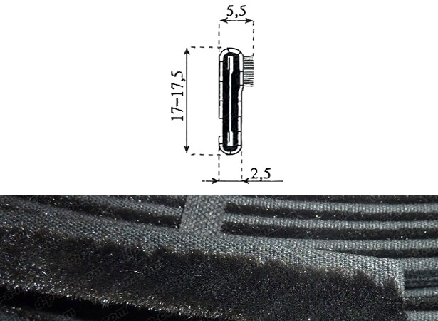 Lèche-vitre intérieur extérieur 17 mm de haut (26500S)