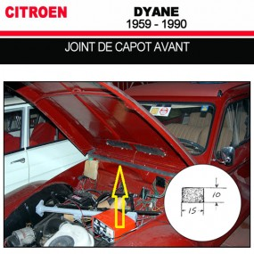Joint de capot avant pour les cabriolets Citroën Dyane