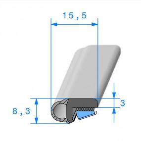 Joint bi-dureté avec face adhésive - 15.5 x 8.3 mm