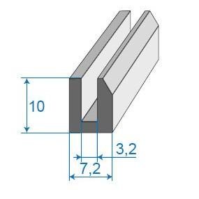 Joint compact en U - 7.2 x 10 mm