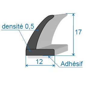 Joint cellulaire avec face adhésive - 12 x 17 mm