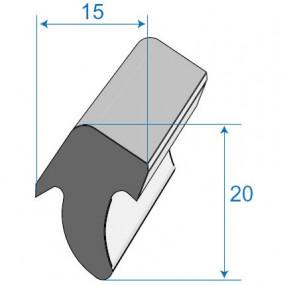 Joint de porte ou de coffre - 15 x 20 mm
