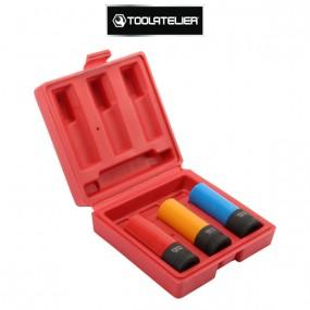 Jeu de 3 douilles à chocs Ø 17, 19, 21 mm pour jantes aluminium - ToolAtelier