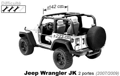 bikini avant 4x4 jeep wrangler jk 2 portes 2007 2009 en vinyle. Black Bedroom Furniture Sets. Home Design Ideas