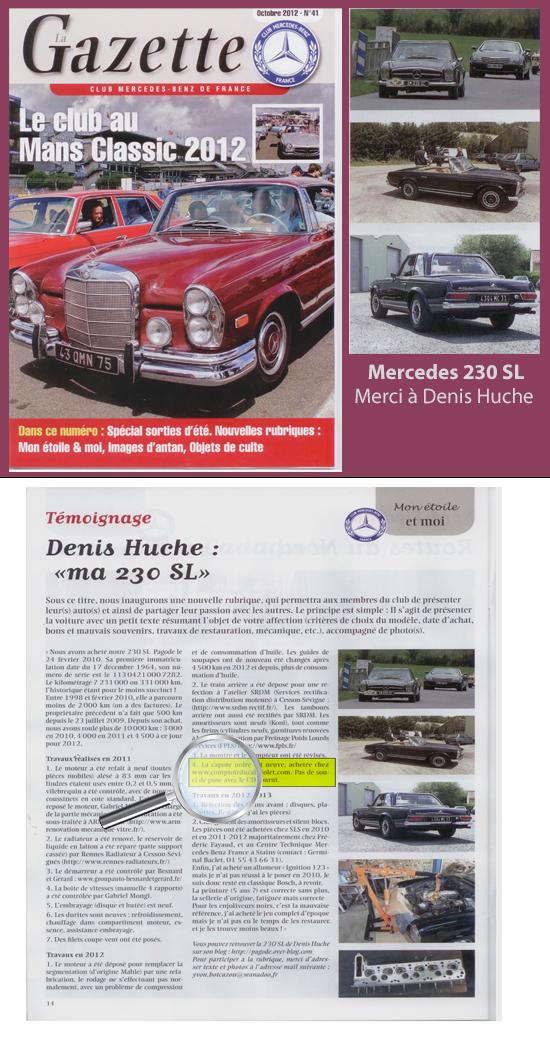 revue de presse Gazette sur la Mercedes 230 SL